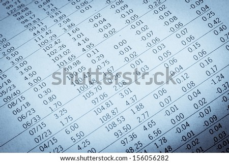 detail of financial data in a newspaper - stock photo