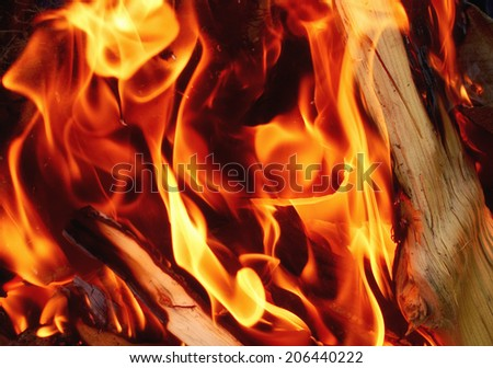 Detail of fire flames and wood background - stock photo