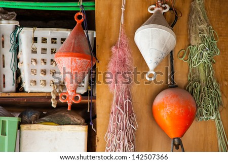 Detail of fisherman's nets and working tools at Lago Maggiore, Italy - stock photo