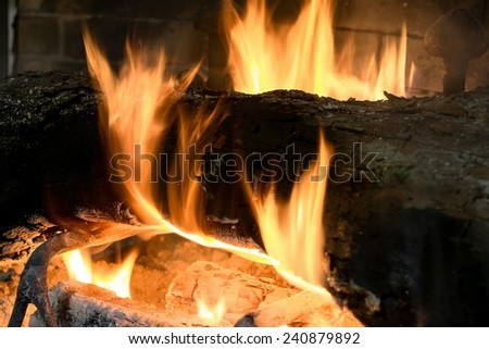 Detail of flames and Trunk burning in a fireplace - stock photo