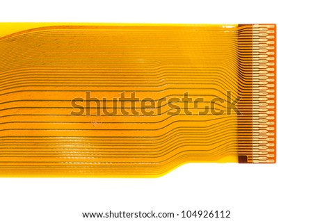Detail of flexed printed circuit board (FPC) with connector pads isolated on white