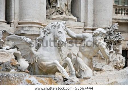 Detail of Fontana di Trevi - stock photo