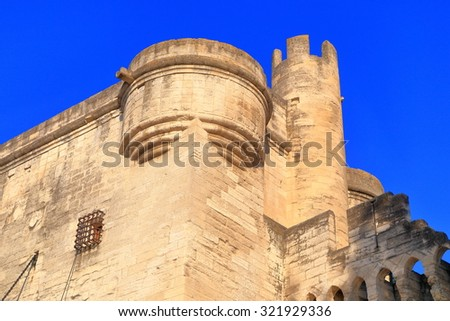 Detail of fortified corner on the walls defending the old town of Avignon, Provence, France - stock photo