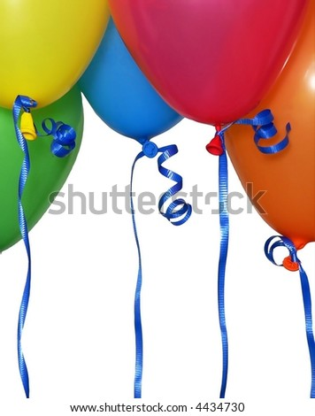 Detail of four helium balloons puts narrow field of focus on blue balloon and ribbon. Bright red, blue, green, orange and yellow balloons with blue ribbon isolated on white. Vertical composition. - stock photo
