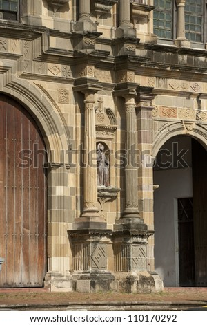 Detail of front facade of Cathedral Church at San Felipe. Old Quarters, Panama City, Panama, Central America.