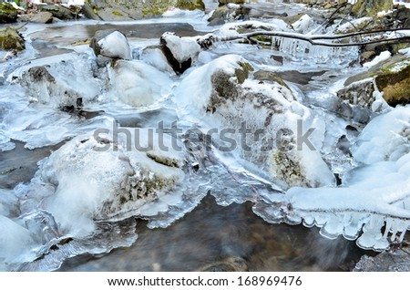 Detail of frozen brook - icy cascade, small waterfall, stones, icicles on branches and stones and milky stream - stock photo