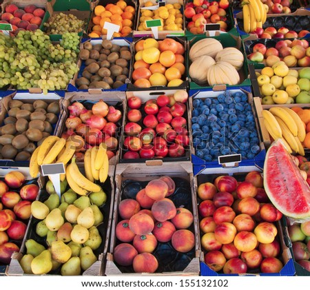 Detail of fruit in marketplace, upper view - stock photo