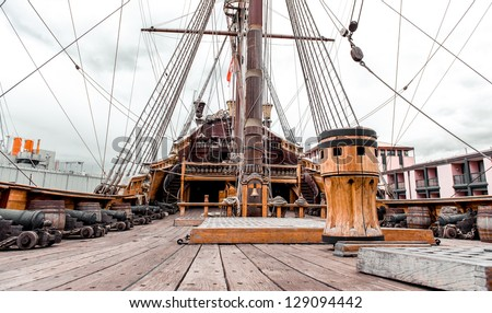 Detail of Galeone Neptune ship, tourist attraction in Genoa, Italy - stock photo