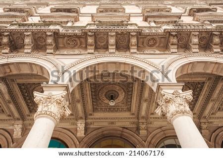 Detail of Galleria Vittorio Emanuele II in Milan Italy - stock photo