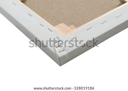 Detail of gallery wrapped blank canvas on wooden frame - stretcher bar frames back side isolated on white - stock photo