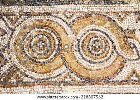 Detail of geometric mosaic, ancient Greek and Roman city of Ephesus, Selcuk, izmir, Turkey