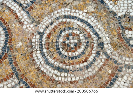 Detail of geometric mosaic walk in front of small shops  from ancient Greek and Roman city of  Ephesus,  Turkey
