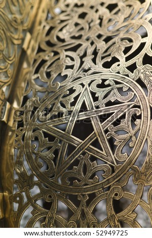 Detail of golden door in Mausoleum of Mohammed V in Rabat - stock photo