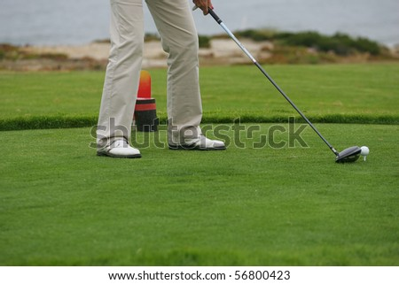 detail of golf player - stock photo