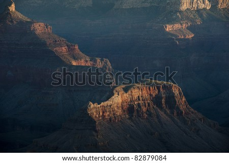 Detail of Grand Canyon mesa in morning shadows - stock photo