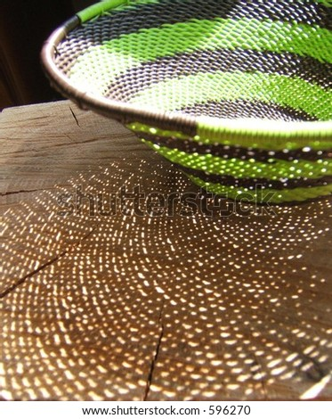 detail of green african wire basket - stock photo
