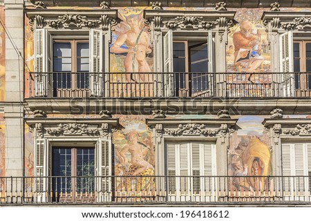 Detail of Historic tenement house facade Casa de la Panaderia (Bakery House, 1619 � now municipal and cultural building). Plaza Mayor, Madrid, Spain. - stock photo