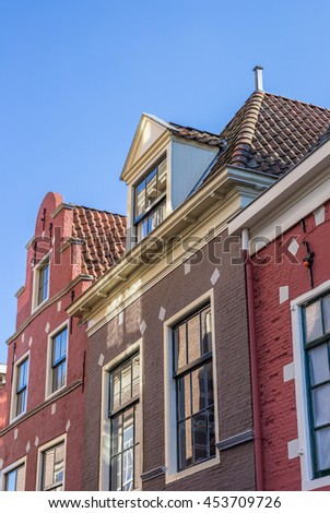 Detail of historical houses in Leeuwarden, Netherlands - stock photo
