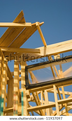 Detail of house frame under construction