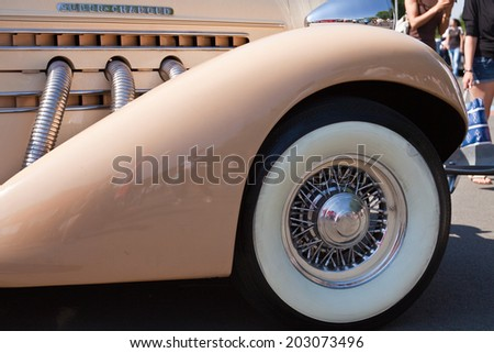 Detail of impeccably maintained classic car close up - stock photo