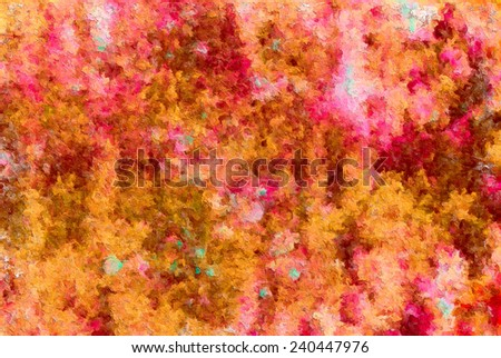 detail of impressionist art work, brush strokes of painting - colorful abstract texture - stock photo