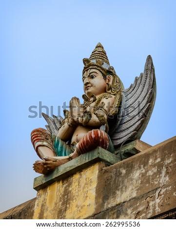 Detail  of indian Brihadeshwara Temple. South India, Tamil Nadu, Thanjavur  - stock photo