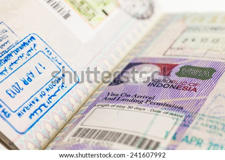 Detail of 2014 Indonesia Visa on passport - stock photo