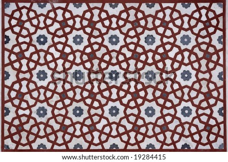 Detail of islamic pattern on the gatehouse to the Mughal tomb (I'timad-ud-Daulah). 17th Century AD. Agra, Uttar Pradesh, India