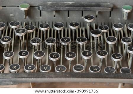 Detail of keyboard of old typewriting machine - stock photo
