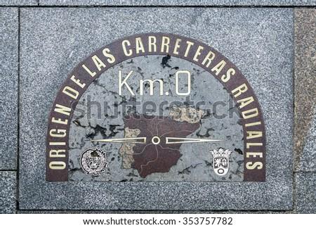 detail of kilometre zero point in Puerta del Sol, Madrid, Spain  - stock photo