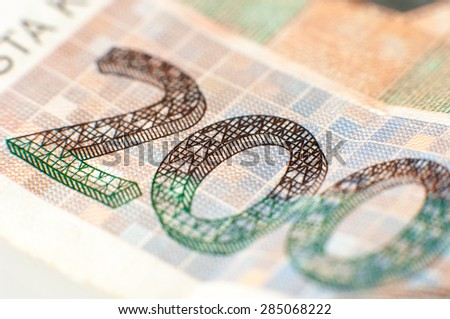 Detail of 200 kuna banknote from Croatia. - stock photo
