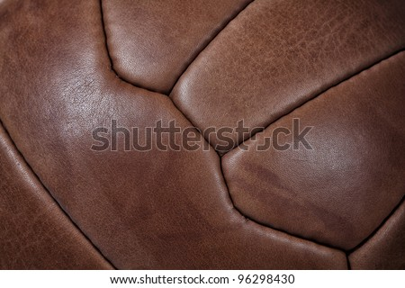 detail of leather soccer ball - stock photo