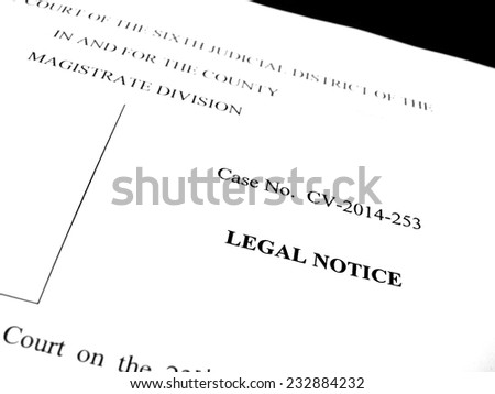 Detail of legal papers a notice of lawsuit - stock photo