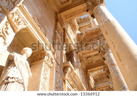 Detail of Library of Celsus, Ephesus, Turkey
