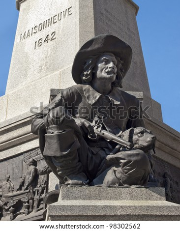 Detail of Maisonneuve statue in Montreal's Old Port district - stock photo