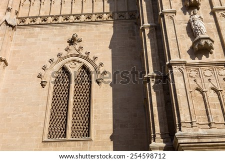 Detail of Mallorca cathedral, in Palma de Mallorca, Spain - stock photo