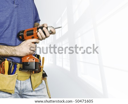 detail of manual worker tools on 3d indoor background