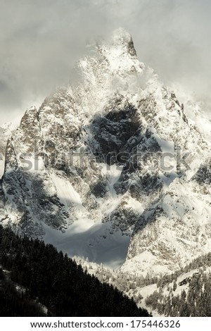 detail of Massif Mont Blanc view from courmayeur