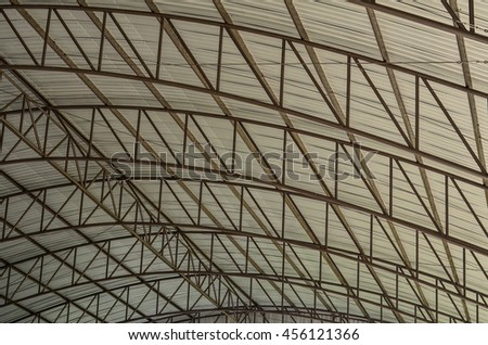 Detail of Metal roof construction - stock photo