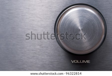 Detail of Metallic Volume Knob - With Copyspace - stock photo