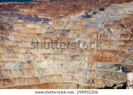 Detail of mining levels at open mine pit - stock photo