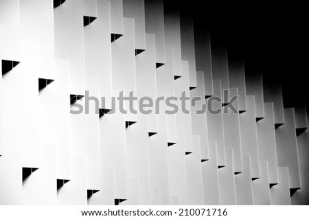 Detail of modern architecture, a separating wall made of cardboard - stock photo