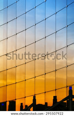 detail of modern building with sunlight - stock photo