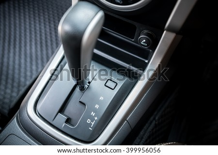 Detail of  modern car interior, car gear, automatic transmission car  - stock photo
