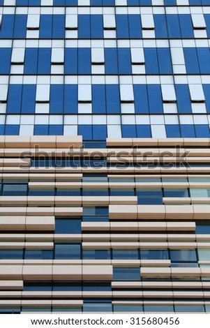 detail of modern city urban futuristic office building architecture  - stock photo