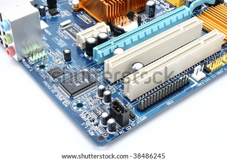 Detail of modern computer mainboard isolated on white background - stock photo