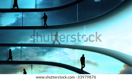 detail of modern interior design with reflective forms - stock photo