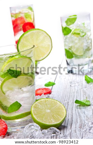 Detail of mojito drinks