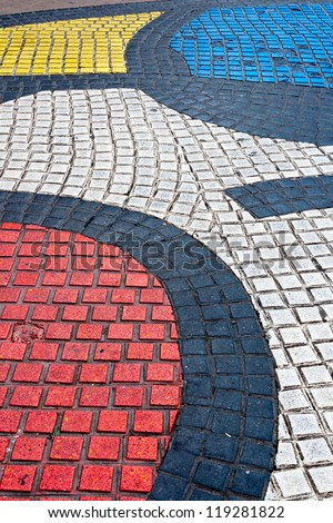 Detail of Mosaic in Les Rambles, Barcelona - stock photo