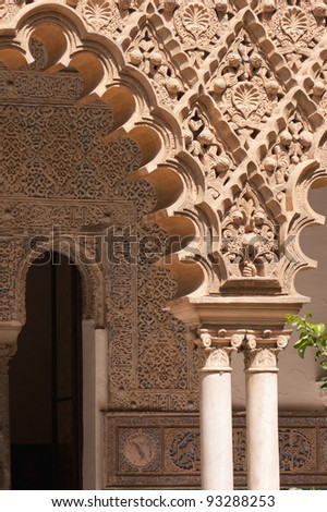 Detail of mudejar decorations in Seville. Mudejar style spread in Spain between the 12th and 16th century and it is strongly characterized by Islamic influences.